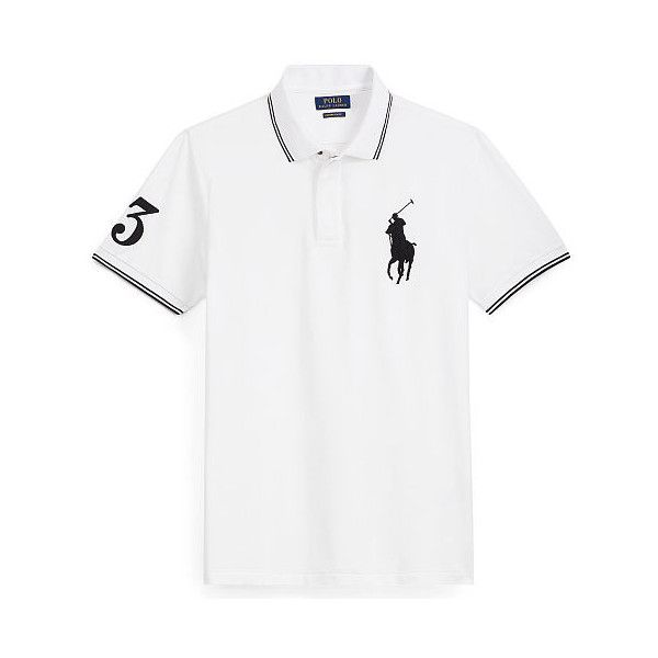 Polo Ralph Lauren Custom Slim Fit Polo Shirt (125 CAD) ❤ liked on Polyvore featuring men's fashion, men's clothing, men's shirts, men's polos, mens slim fit shirts, ralph lauren mens shirts, mens slim shirts, mens striped shirt and mens moisture wicking polo shirts