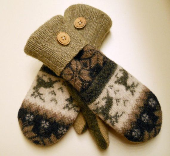 Nordic Pattern felted wool mittens warm recycled by merchantships, $28 ...