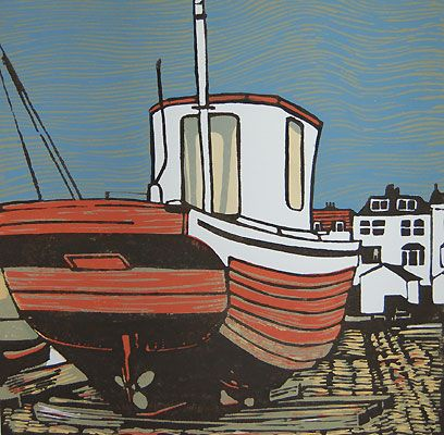 Max Angus- printmaker in the UK  The City Workers Weekend Away  Location: Deal Fishing Boat, Kent   Image size: 30cm x 30cm   Medium: Linocut 4 Block   Edition size: 16