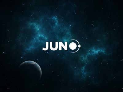 JUNO - Logo Design - Logotype, Space, Planet, Jupiter, Satellite, Gradient, White, Dark, Sans serif