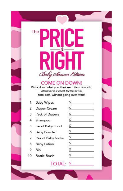 Instant Download Hot Pink Camo Baby Shower by Studio20Designs