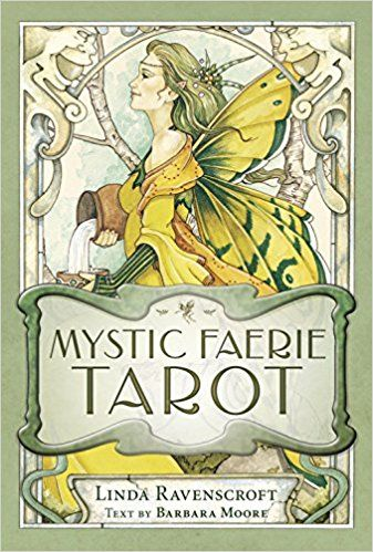Mystic Faerie Tarot & Book by Ravenscroft & Moore  Step inside the enchanting world of the fey with rich watercolor images by renowned artist Linda Ravenscroft that capture the vibrancy and grace of faeries, sprites, elves, and nymphs in their lush gardens, telling their story within this fantastic tarot. hese stories offer lessons and fresh insights in all matters of life, while remaining true to tarot archetypes.