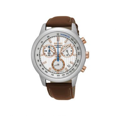 SSB211P1 Ανδρικό μοντέρνο ρολόι SEIKO με χρονογράφο, ημερομηνία, γκρι καντράν, στεφάνη & καφέ δέρμα | SEIKO ρολόγια ΤΣΑΛΔΑΡΗΣ στο Χαλάνδρι #Seiko #χρονογραφος #ασπρο #λουρι #ρολοι
