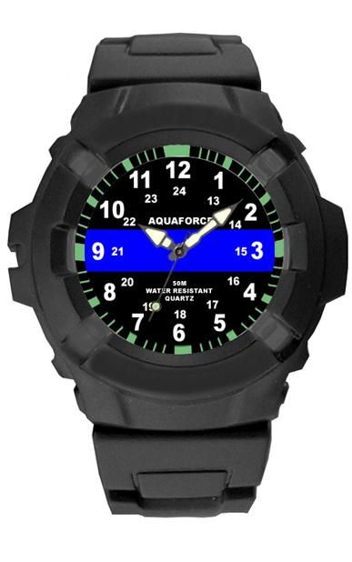 Aqua Force Blue Line Police Insignia Combat Field Watch (50M water resistant)