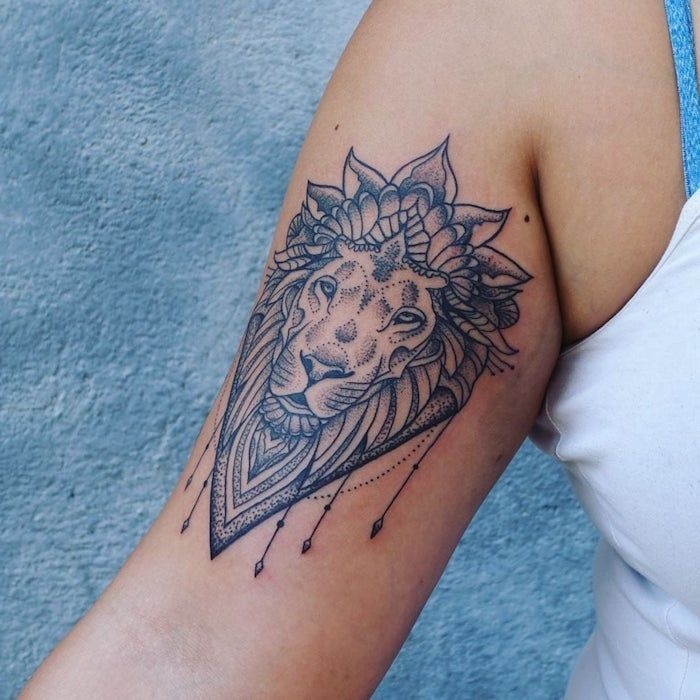 Tattoo Arm Frauen – Tattoo Kopf am Oberarm, kleine Tattoo Motive für Frauen, Mandal … #womentattooarm #armtattoos