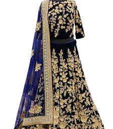 Buy Navy Blue velvet embroidered unstitched lehenga choli lehenga-choli online