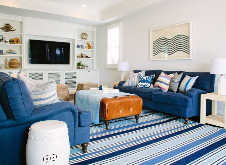 Blue And White Coastal Family Room Rita Chan Interiors