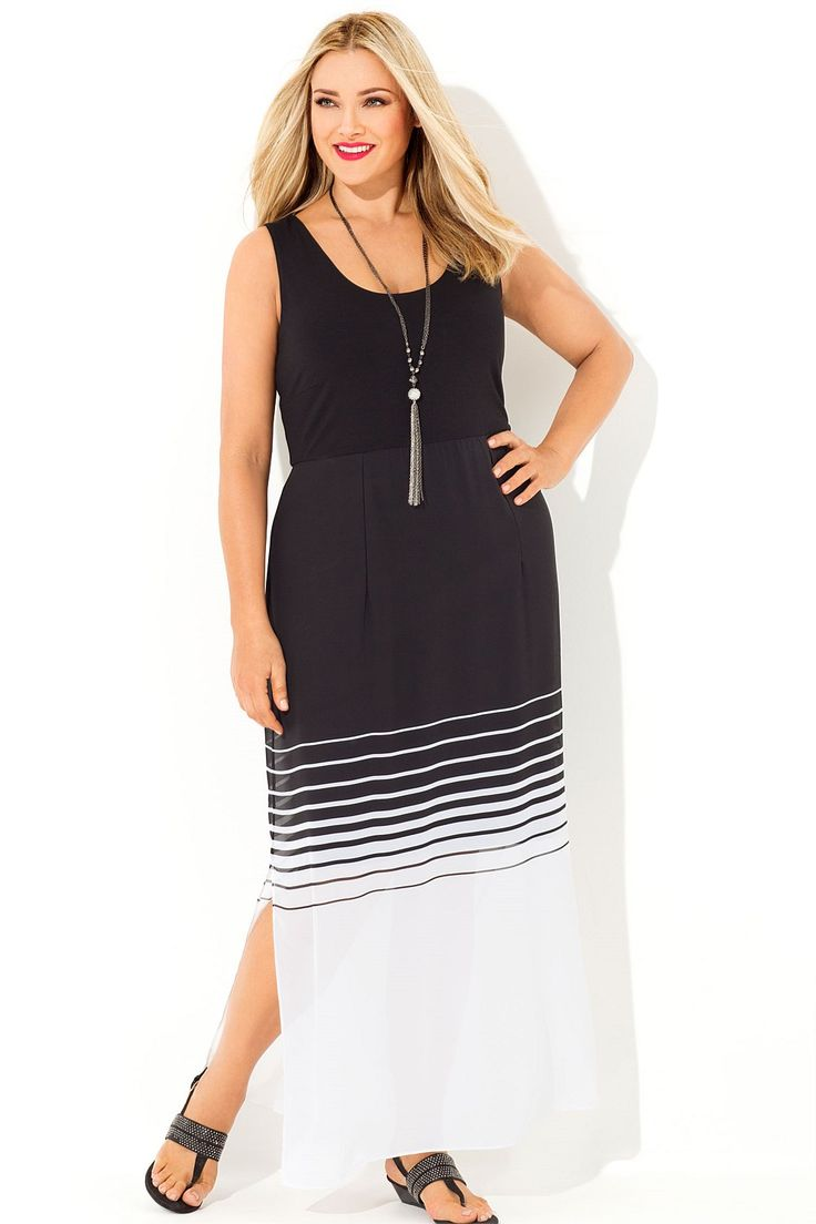 Sara Stripe Overlay Maxi Dress - EziBuy New Zealand