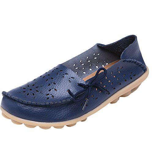 MatchLife Damen Vintage Leder Flach Pumpe Casual Schuhe Hollow Style3 Navy Blau 37 - http://on-line-kaufen.de/matchlife/eu37-ch38-matchlife-damen-vintage-leder-flach-35