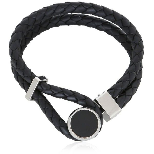 Montblanc Men Leather, Steel And Resin Bracelet ($305) ❤ liked on Polyvore featuring men's fashion, men's jewelry, men's bracelets, black, mens bracelets, mens leather bracelets, mens leather braided bracelets, mens stainless steel bracelets and mens watches jewelry