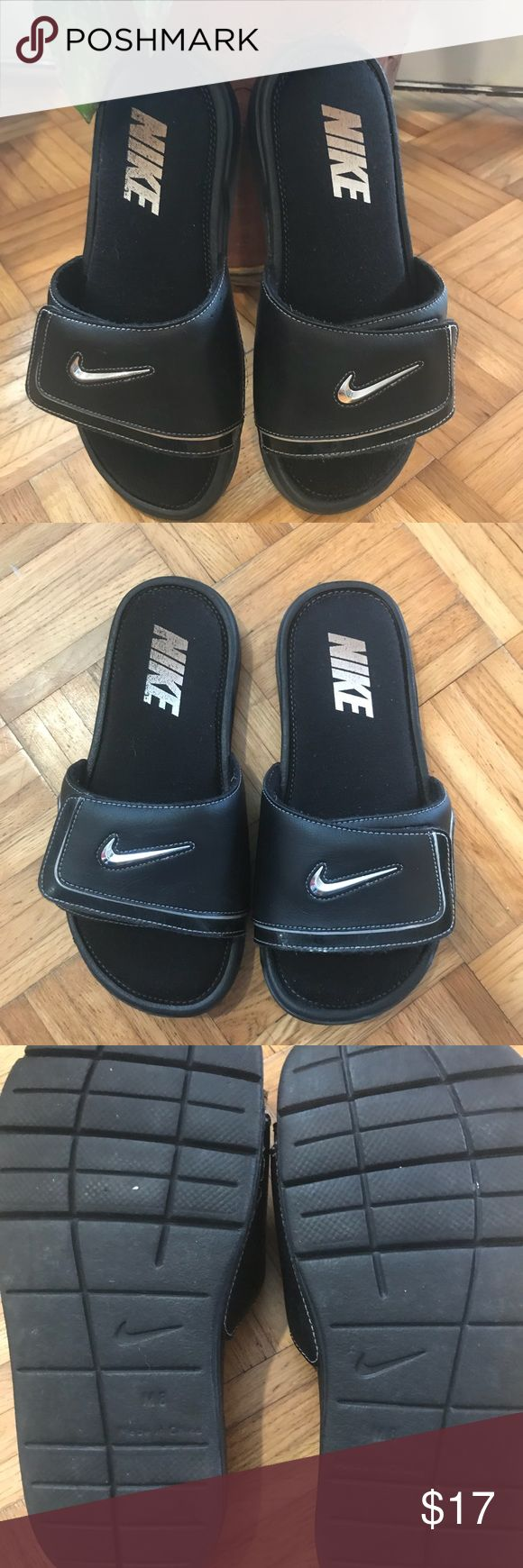 Nike Men's Slippers Size 8M Black with silver logo .. no rip, tears, etc. just normal signs of wear .. very gently used Nike Shoes Sandals & Flip-Flops