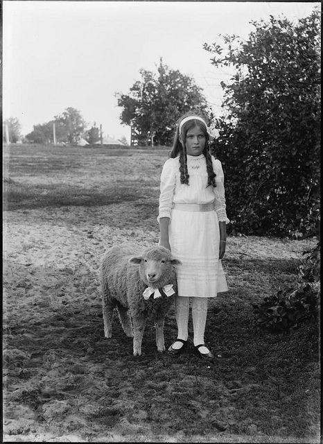 little bo peep is mad at her sheep.  I'm thinking this wasn't the little girl's idea for her photo...LOL...nothing under the sun is ever new, no matter the period of time!