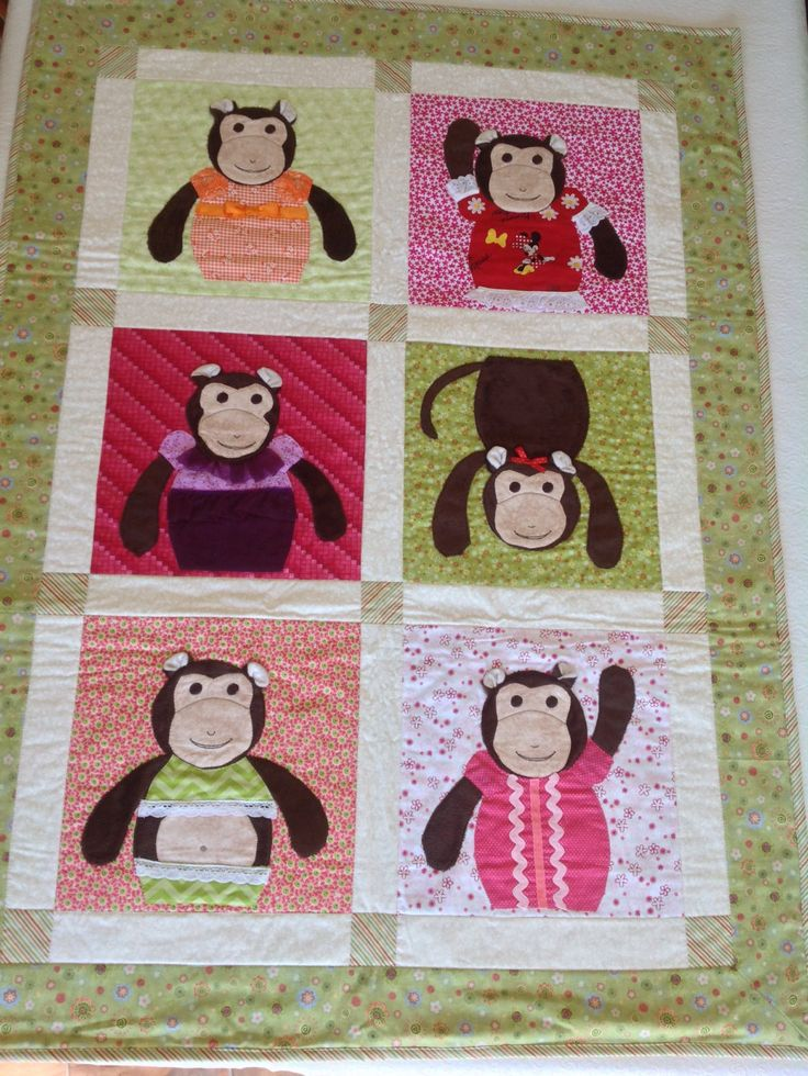 Applique Monkey Baby Crib Quilt or Play Matt by QuiltsandSewsShop on Etsy