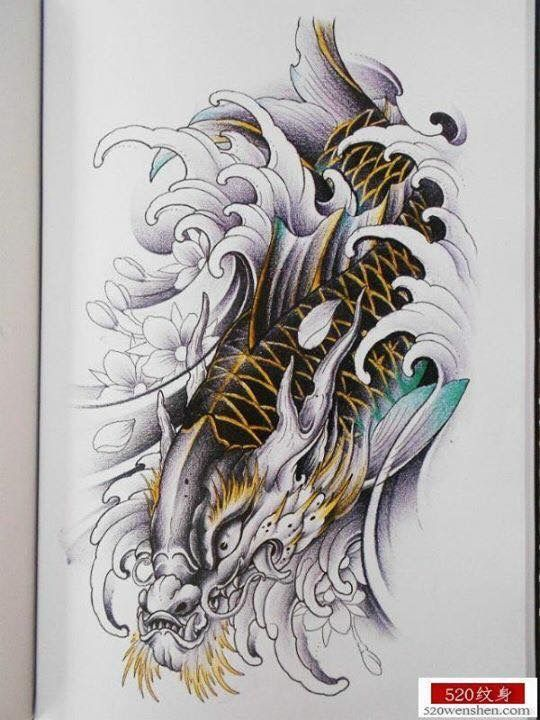 1093 best kois images on pinterest irezumi japan tattoo for Black dragon koi