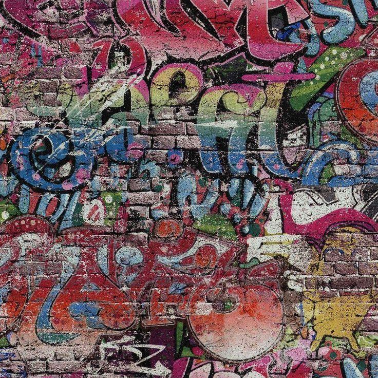 Pu0026s Graffiti Motif Brick Wall Pattern Urban Childrens Wallpaper