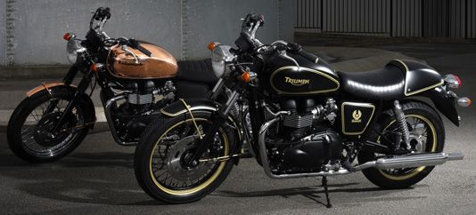 Renowned motorcycle enthusiast Ewan McGregor created a design that incorporates a copper-plated tank with black waxed cotton by Belstaff on the seat and side panel ,and that is inspired by his love of the legendary motorcycle enthusiast Steve McQueen. (2008) triumph.co.uk