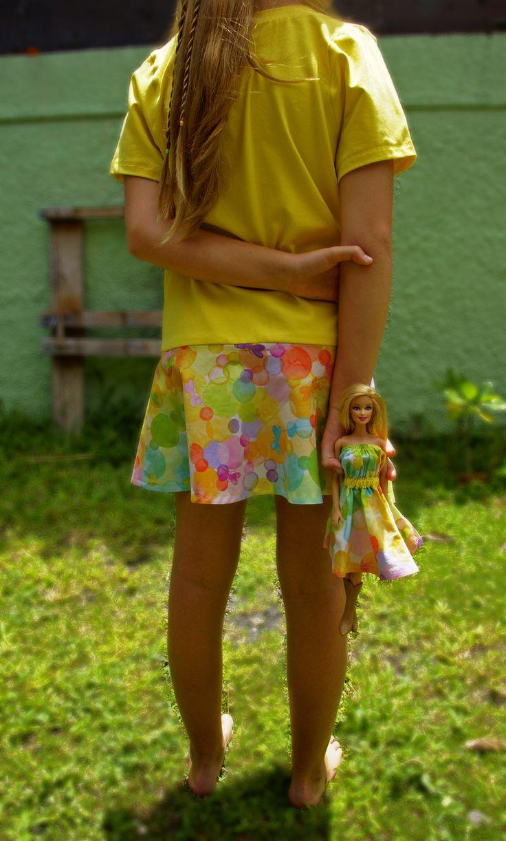 Nouveauté!!! Tunique avec robe Barbie assortie 10 ans tissu Michael Miller « Glee » : Mode filles par sr-couture