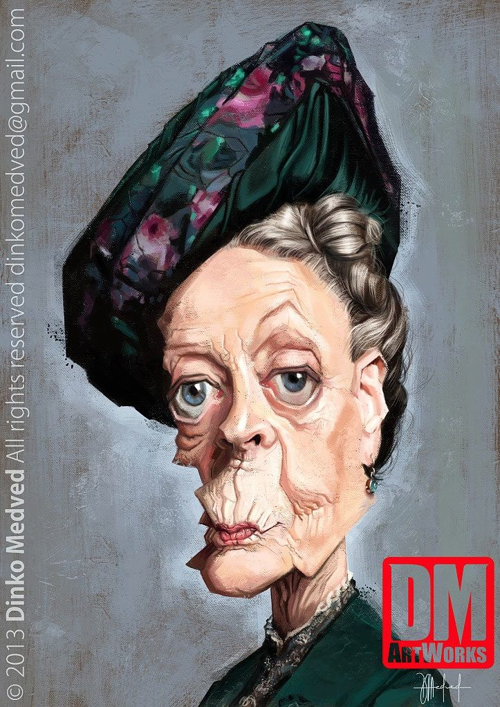 Caricatura de Maggie Smith.