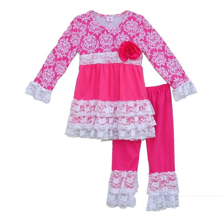 Girl's Boutique Pink and Lace Shirt and Matching Ruffle Pants 2 Piece Outfit