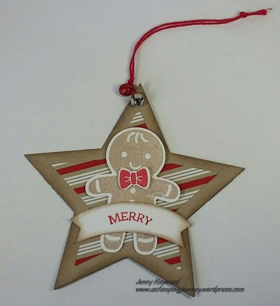 handmade tag/ornament/card topper: star with gingerbread man ... kraft base ...
