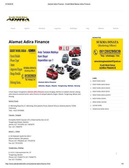 Alamat Adira Finance Kredit Mobil Bekas Adira Finance Alamat