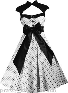 5226 ROCKABILLY 50s WHITE POLKA DOT VINTAGE STYLE PIN UP SWING PROM DRESS 8-22