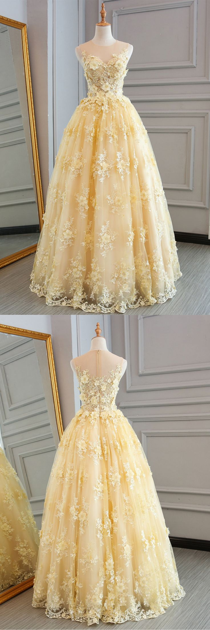 Spring yellow lace customize long A-line senior prom dress, long lace halter evening dress
