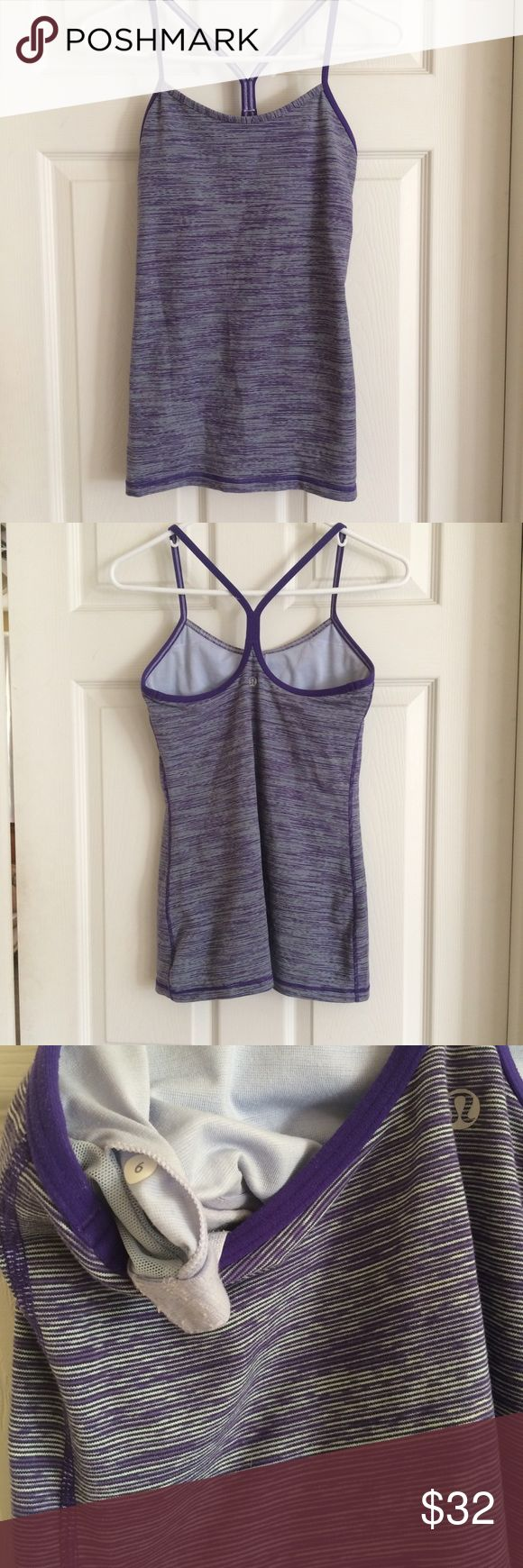 Lululemon Power Y Tank 🌷welcome spring🌷 Pretty in purple! Lululemon Power Y space dye tank with built in bra (no inserts). Color: bruised purple. Worn 3-4 times and hand washed. VGUC. No rip tag. 🌷 Pair with my other purple lulu tank for special bundle pricing. Stock photo from lulufanatics.com lululemon athletica Tops Tank Tops