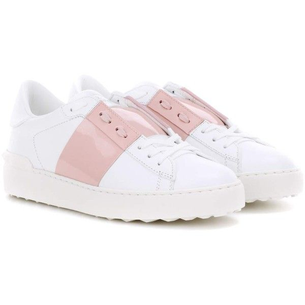 Valentino Open Leather Sneakers ($620) ❤ liked on Polyvore featuring shoes, sneakers, white, white shoes, white sneakers, leather shoes, valentino trainers and valentino shoes