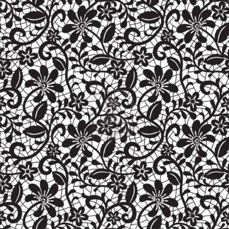 Black Seamless Lace Pattern On White Background Stock