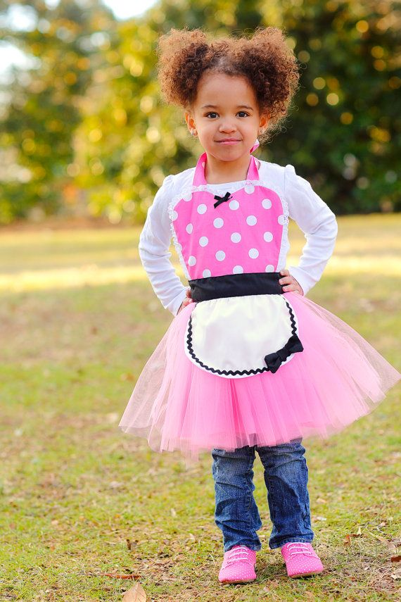 pink MINNIE MOUSE apron kids TUTU Dress up by loverdoversclothing