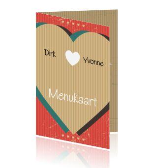 Een vintage menukaart voor de bruiloft of huwelijk. Een kaart die u kunt laten drukken in kraft met een hartje.