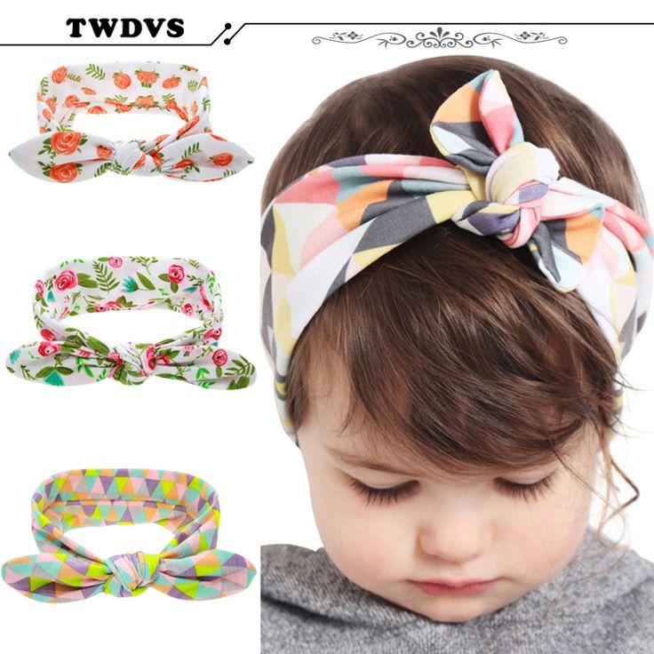 Twdvs crianças da criança do bebê infantil flor floral hairband turbante coelho bowknot bebê headband headwear faixa de cabelo acessórios kt-060