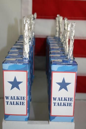 """I love the idea of turning juice boxes into """"walkie talkies"""" I might do this for a boys campout party!!! from: Hostess with the Mostess® - Davis' Military Party"""
