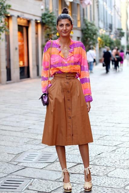 Giovanna Battaglia. Striped color top + tan long skirt.