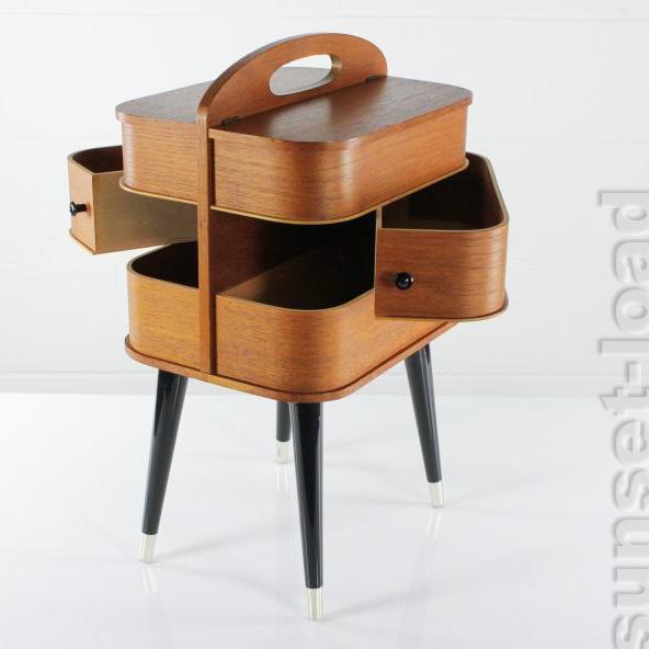 Rare Teak Plywood Sewing Box Mid Century Modern