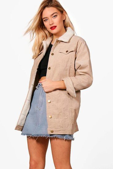 Amelia Borg Long Line Cord Jacket by Boohoo. Wrap up in the latest coats and jackets and get out-there with your outerwearBreathe life into your new season layering with the latest coats and jackets from boohoo. Supersize your silhouette in a padded jacket, stick to sporty styling ... #boohoo #jackets #outerwear