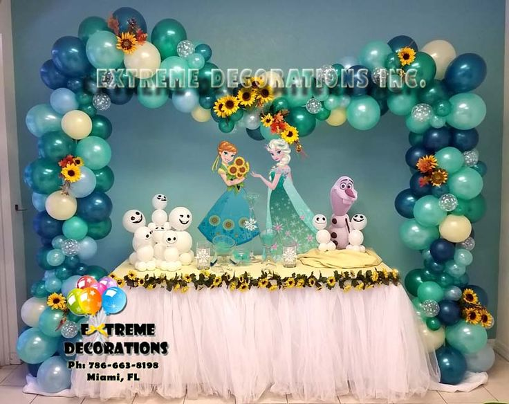 FROZEN FEVER is Here! This is the New design for the Frozen Fever Party. Specialty balloon arch with sunflowers, Elsa and Anna, Olaf with the little balloon snowgies and much more! For the cake table, white tutu skirt and small sunflowers to complete the look.  Extreme Decorations. Ph: 786-663-8198 www.extremedecorations.com   Questions? email us at extremedecorations@gmail.com