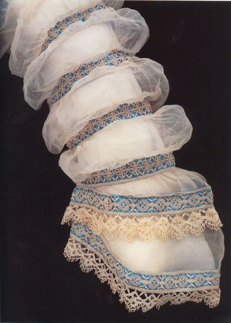 Puffs of linen lawn interspersed with bands of silk satin and lace from a 1868 dress with Maltese-style bobbin lace used.