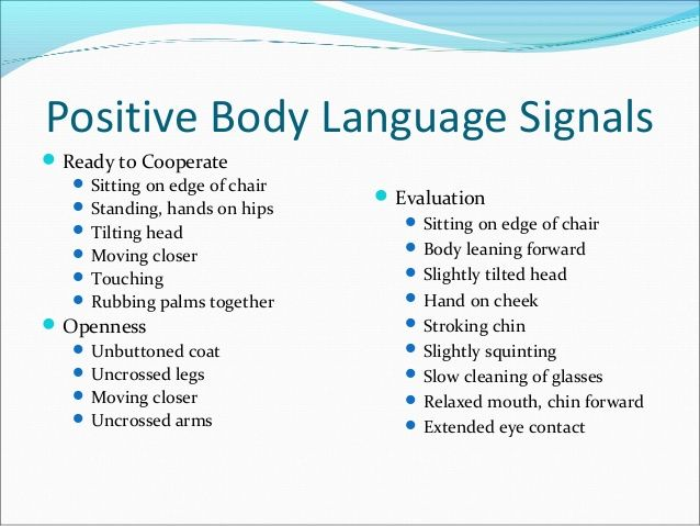 positive and negative body language examples - Google Search