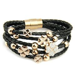 Leather Wrap Woven Crystal Charm 24k Gold Plated