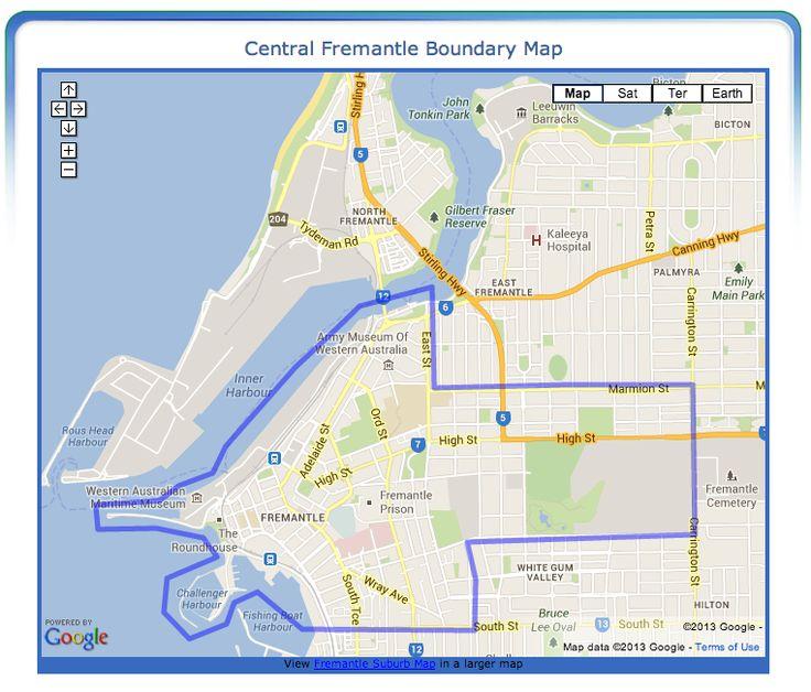 Central Fremantle (Fremantle City) Boundary Map - Google Map of Fremantle City Boundaries