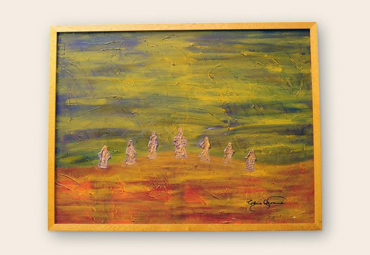 Caminando en el desierto Los fantasmas de inconsciente, imposibilitados por salir, pasean al libre albedrío.  Medidas: 60 x 80 | Técnica: Acrílico con textura mixta, sobre bastidor. #pintura #subconsciente