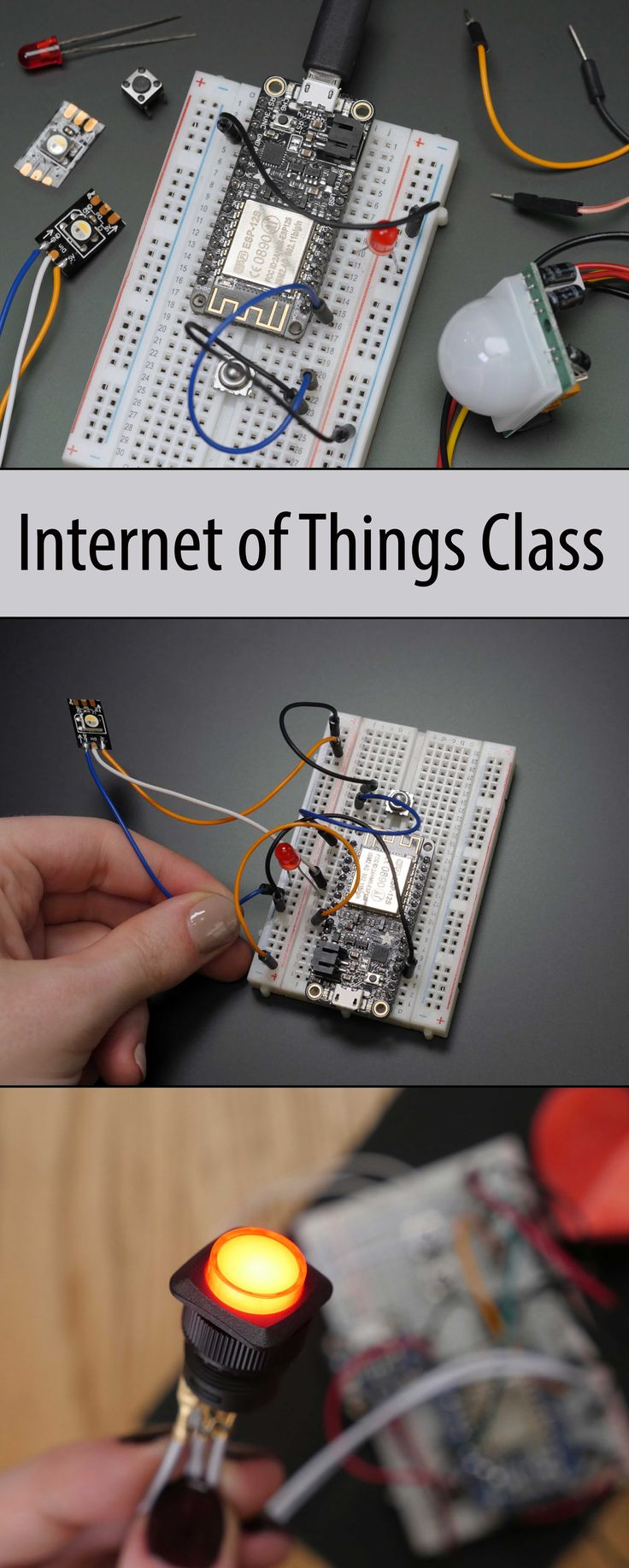 This intermediate level Arduino class guides you through creating your first internet-connected electronics projects using a wifi breakout board.