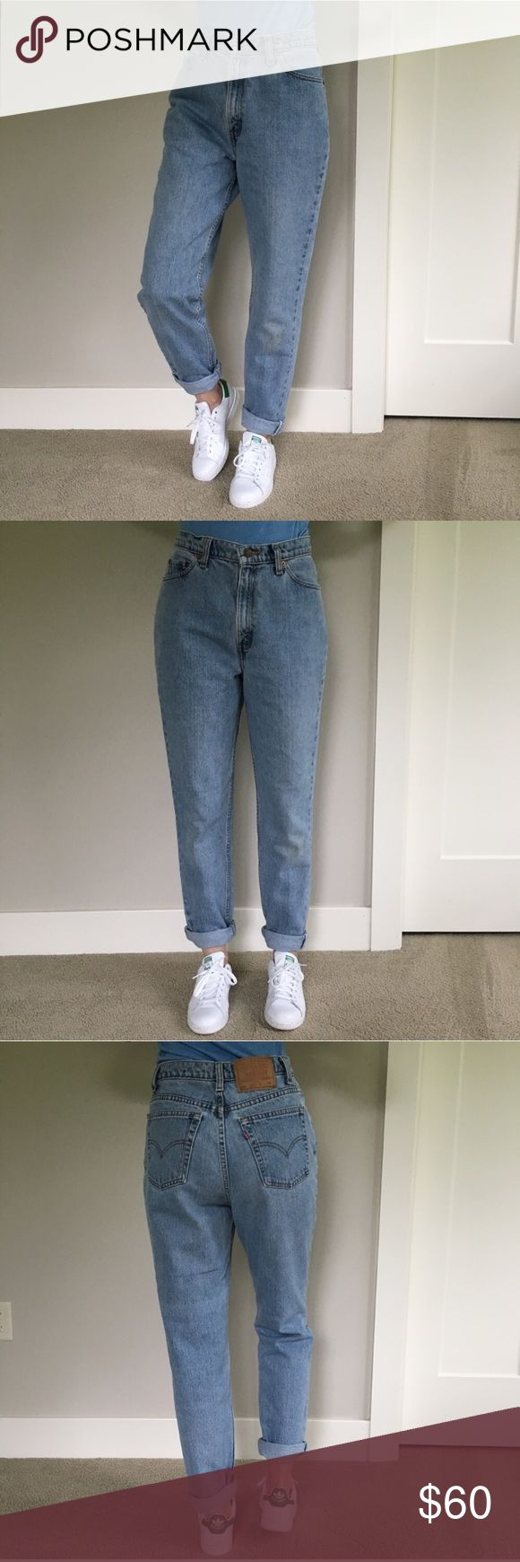 "Vintage Levi's 512 High Waisted Mom Jeans Tapered In good condition for their age, some minor marks on the knee area and some wear near the front pockets (see pictures). The flat waist measurement was used to convert these jeans to a modern size 28-29. Inseam is 30"". The model in the photos is a size 26-27 Levi's Jeans"