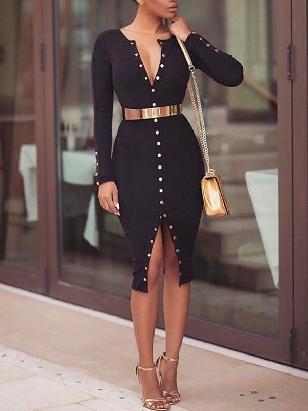 a89313fada Stylish Snap Button Design Midi Bodycon Dress | School outfit ...