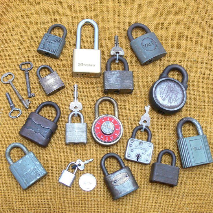 Vintage lock lot-antique lock collection-old skeleton keys-old master lock-old slaymaker lock-old yale lock-old combination lock-lock bundle by BECKSRELICS on Etsy