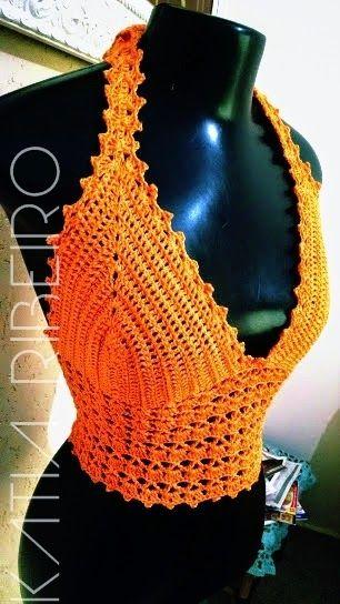 Katia Ribeiro Acessórios: Cropped top de crochê com receita e vídeo