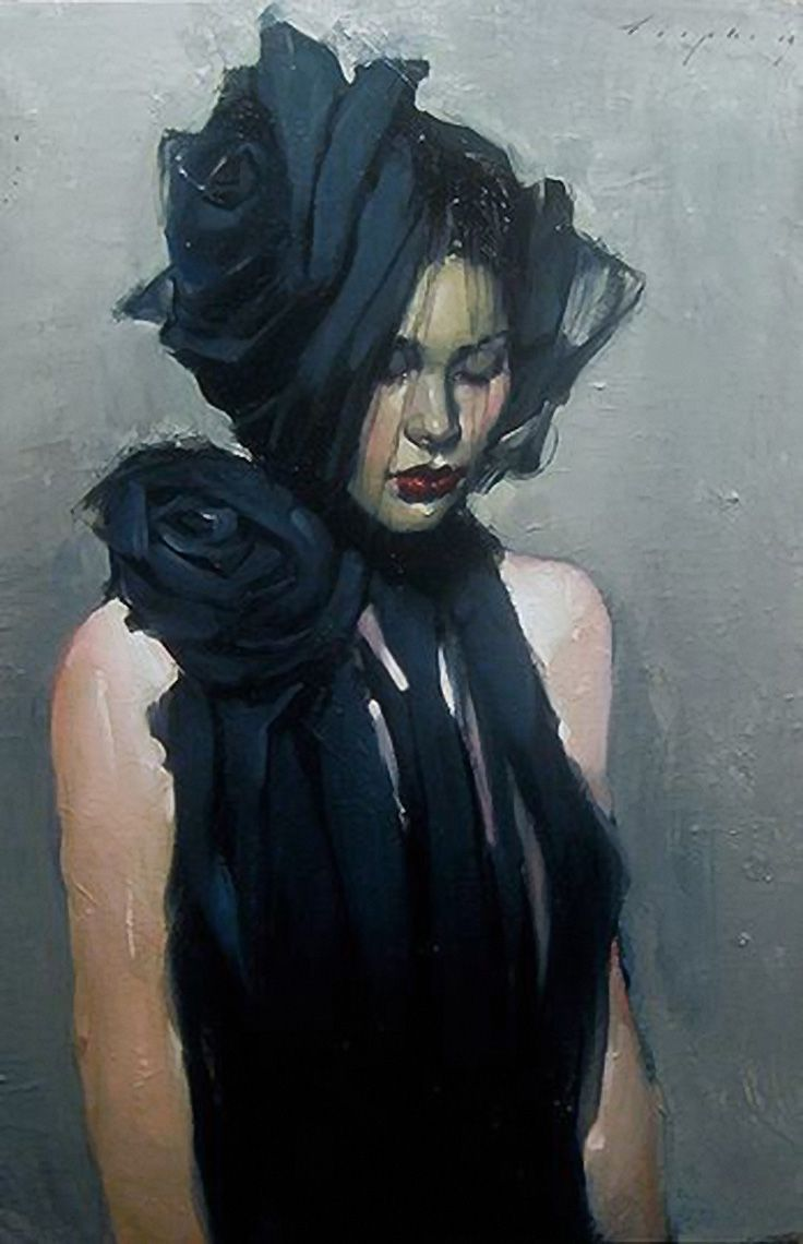 """""""Behind the Veil"""" - Malcolm Liepke, b. 1954, oil on canvas {contemporary figurative beautiful female black dress woman face portrait painting #loveart}"""