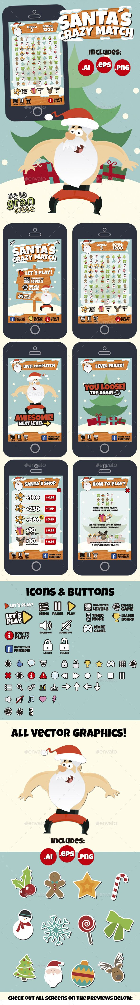 Christmas Match 3 Style Game Assets — Vector EPS #assets #game • Download here → https://graphicriver.net/item/christmas-match-3-style-game-assets-/9687227?ref=pxcr
